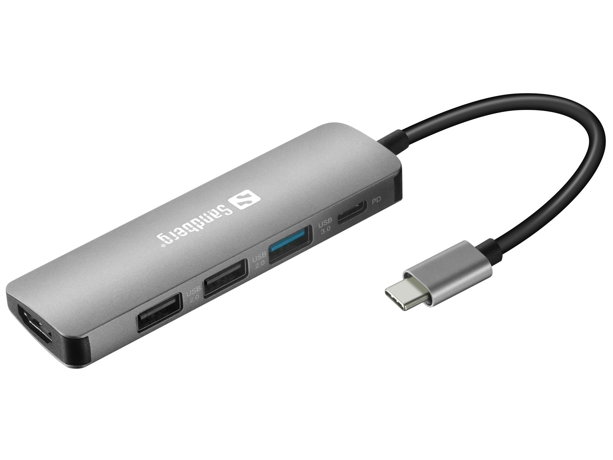 Sandberg USB-C priklopna postaja na HDMI + 3x USB 3.0 in Power Delivery 100W