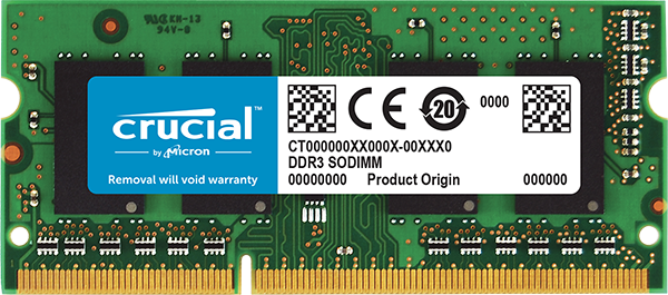 Crucial 2GB DDR3L-1600 SODIMM PC3-12800 CL11, 1.35V/1.5V