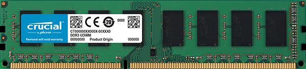 Crucial 4GB DDR3L-1600 UDIMM PC3-12800 CL11, 1.35V/1.5V Single Ranked