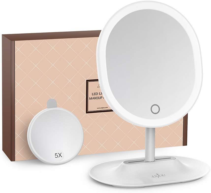 Anjou namizno ogledalce z LED osvetlitvijo in 1x/5x povečavo bel