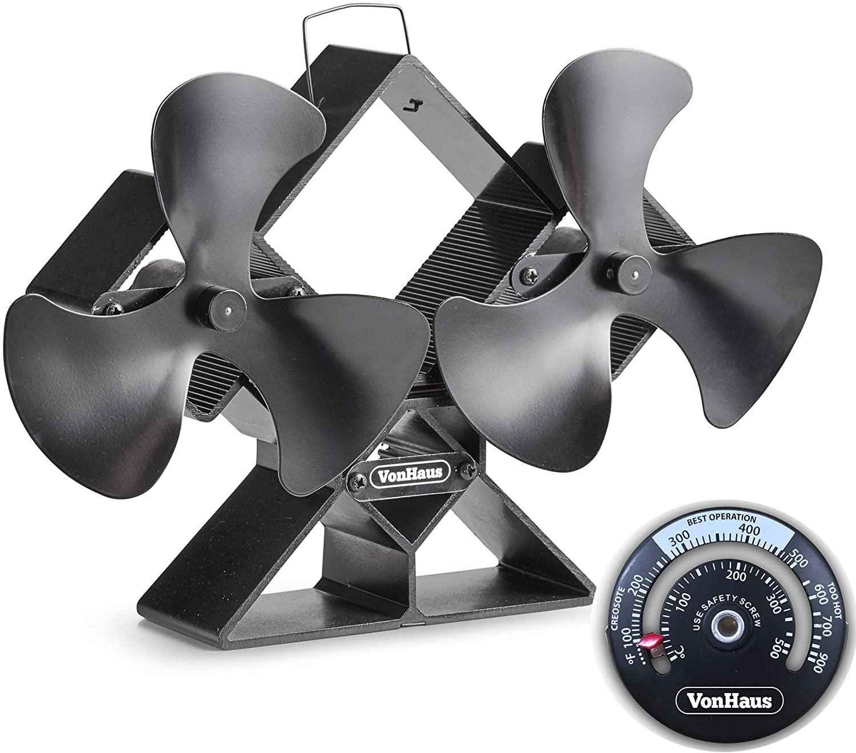 VonHaus dvojni ventilator za kamin črn aluminij