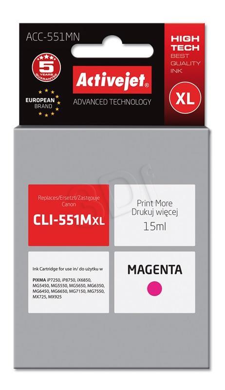 ActiveJet magenta črnilo Canon CLI-551MXL
