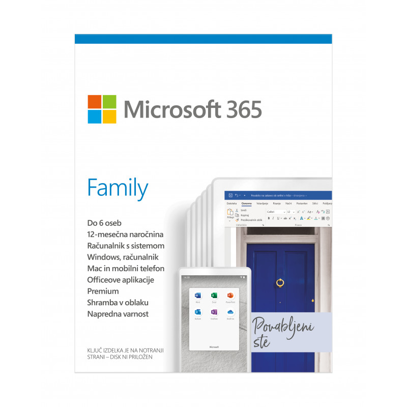 Microsoft 365 Family Mac/Win - slovenski - 1 letna naročnina