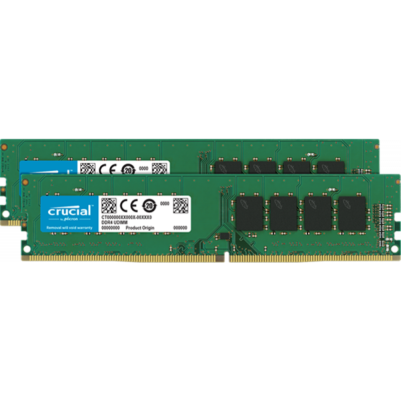 Crucial 16GB Kit (2 x 8GB) DDR4-2666 UDIMM PC4-21300 CL19, 1.2V