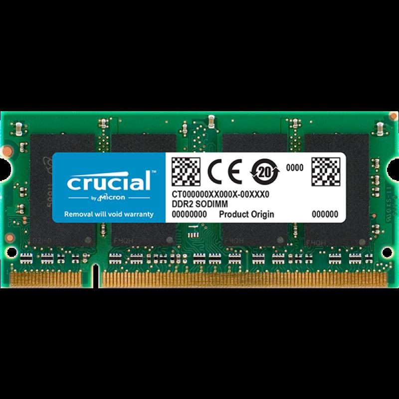 Crucial 2GB DDR2-800 SODIMM PC2-6400 CL6, 1.8V