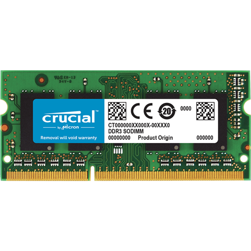 Crucial 4GB DDR3L-1600 SODIMM PC3-12800 CL11, 1.35V Single Ranked