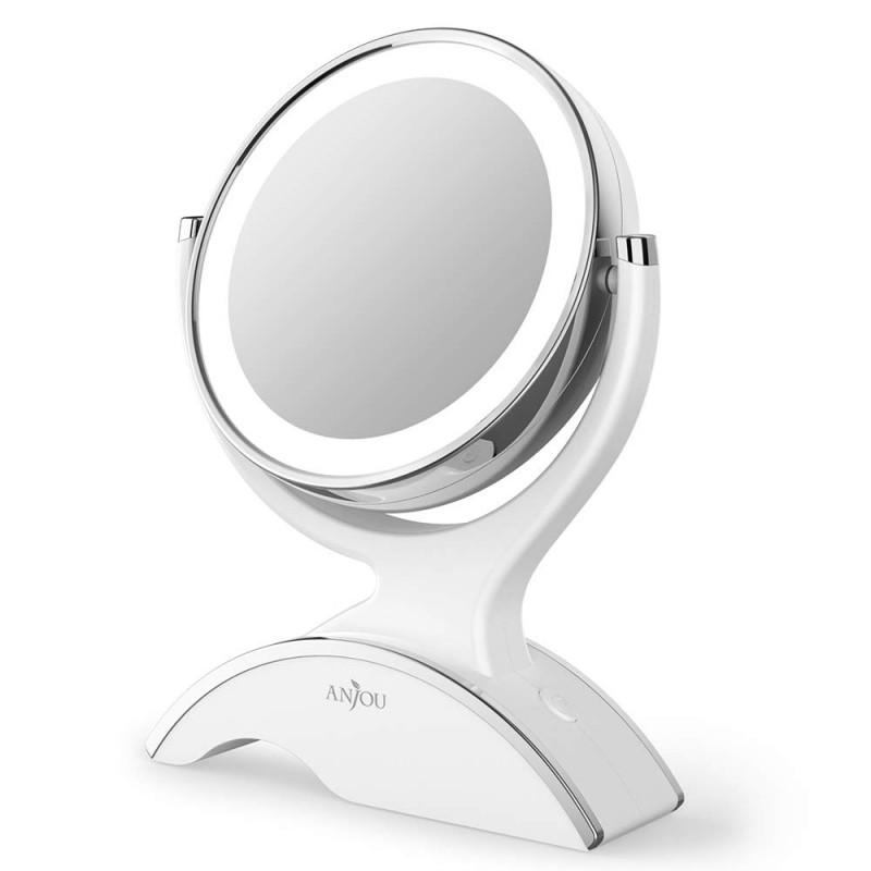 Anjou namizno ogledalce z LED osvetlitvijo in 1x/7x povečavo bel