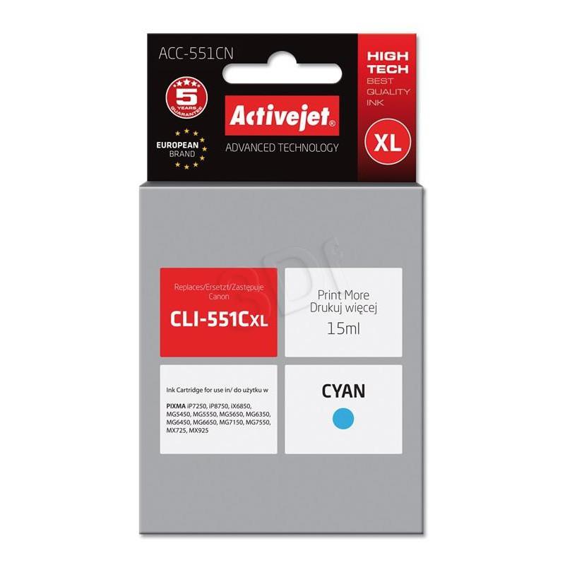 ActiveJet cyan črnilo Canon CLI-551CXL