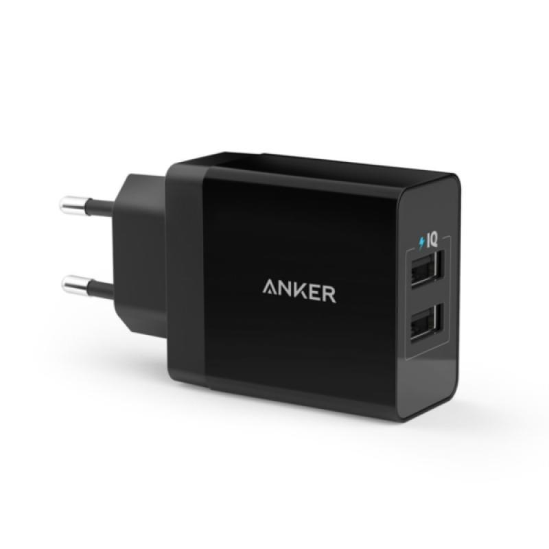 Anker 24W 2-port USB stenski polnilec črn + 0,9m micro USB kabel črn