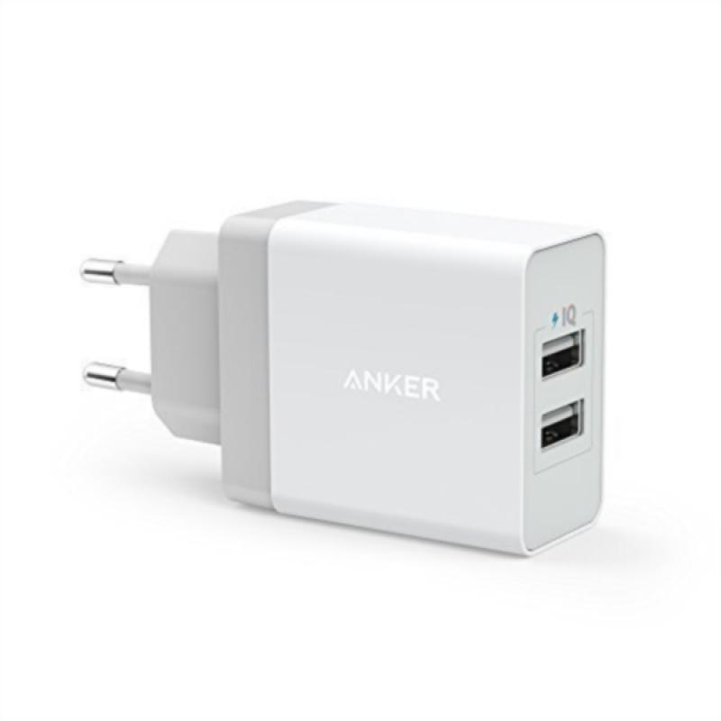 Anker 24W 2-port USB stenski polnilec bel