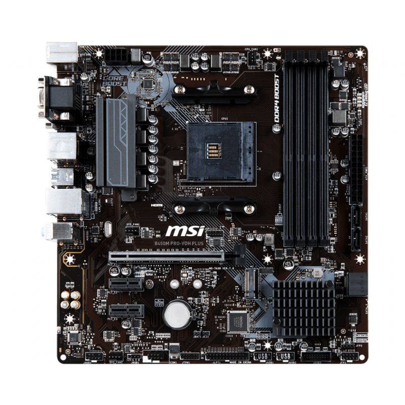 MSI B450M PRO-VDH PLUS, DDR4, SATA3, USB3.1Gen1, HDMI, AM4 mATX