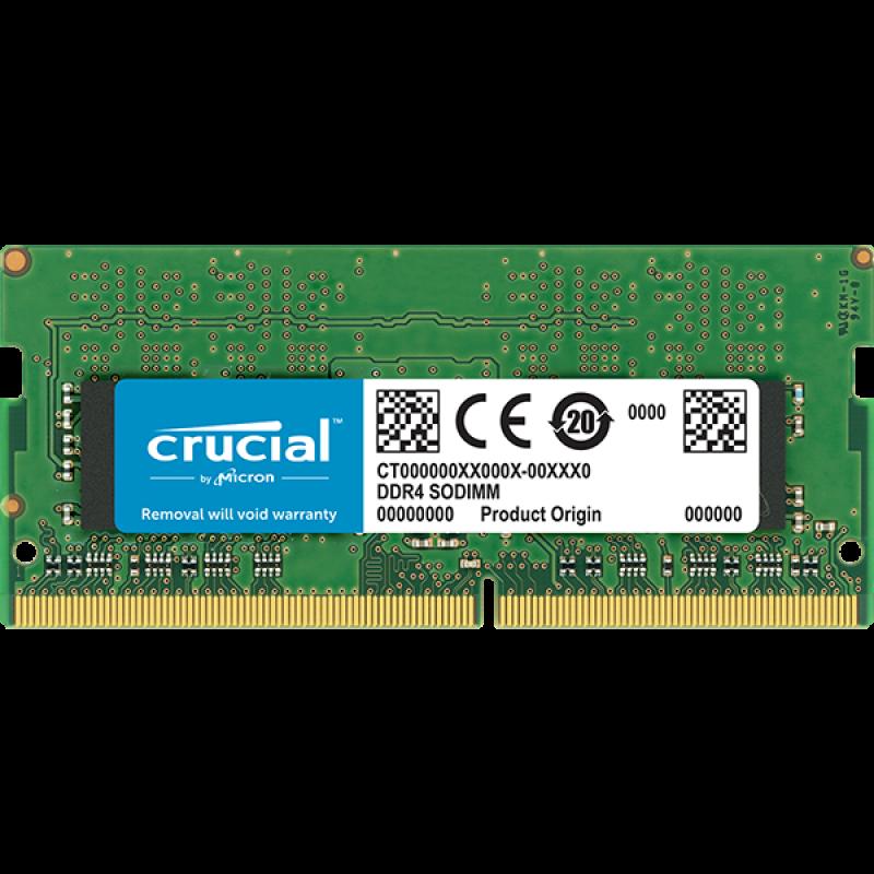 Crucial 8GB DDR4-2666 SODIMM PC4-21300 CL19, 1.2V Single Ranked