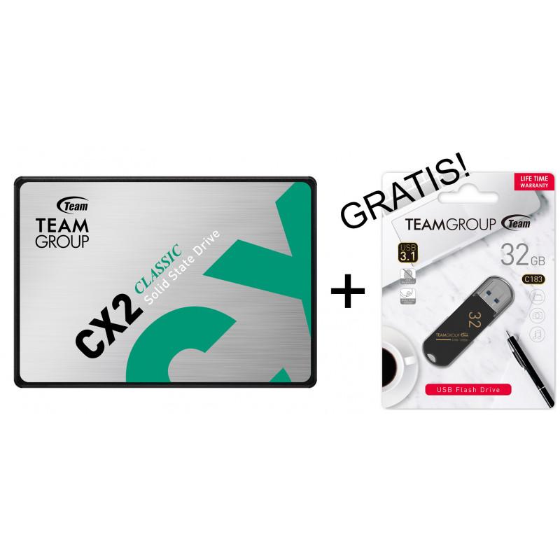"Teamgroup 1TB SSD CX2 3D NAND SATA 3 2,5"" + GRATIS USB 32GB PROMO"