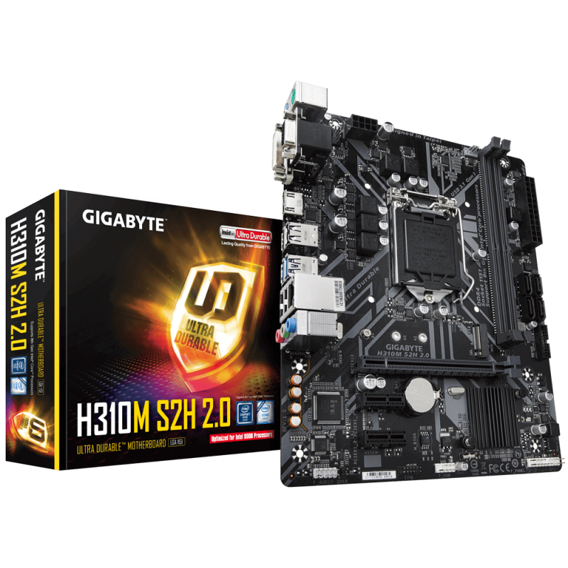 GIGABYTE H310M S2H 2.0, DDR4, SATA3, HDMI, USB3.1Gen1, LGA1151 mATX