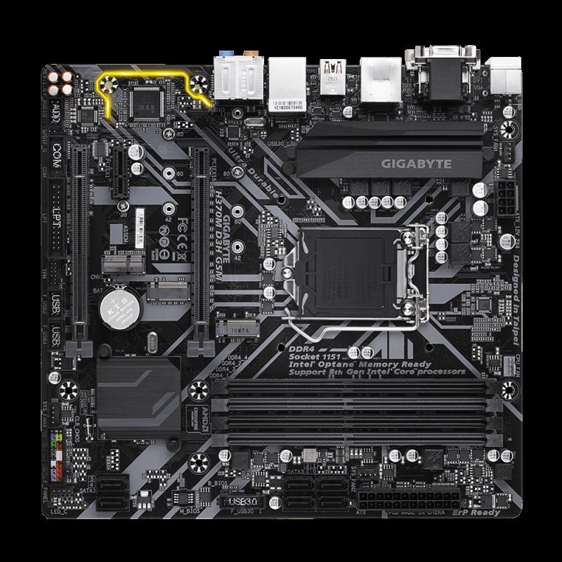 GIGABYTE H370M D3H GSM, DDR4, SATA3, USB3.1Gen2, HDMI, LGA1151 mATX