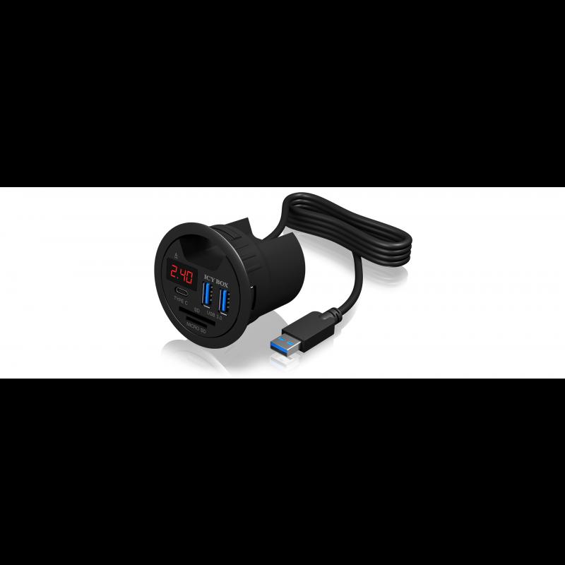 Icybox 2x USB 3.0 hub, 1x USB-C s polnilnikom mobilnikov in čitalcem kartic za vgradnjo v mizo