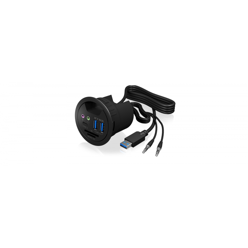 Icybox 2x USB 3.0 hub, 1x USB-C, audio 3,5mm priključki in čitalnik kartic za vgradnjo v mizo