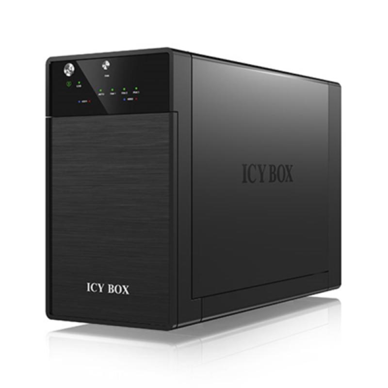 """Icybox IB-3620U3 zunanje ohišje za 2 diska 3.5"""" SATA, USB 3.0, JBOD, črno"""