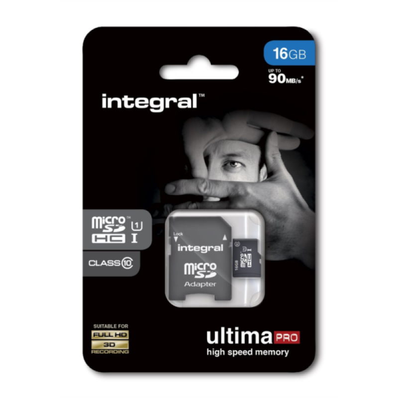 INTEGRAL 16GB MICRO SDHC class10 90MB/s SPOMINSKA KARTICA+ SD ADAPTER