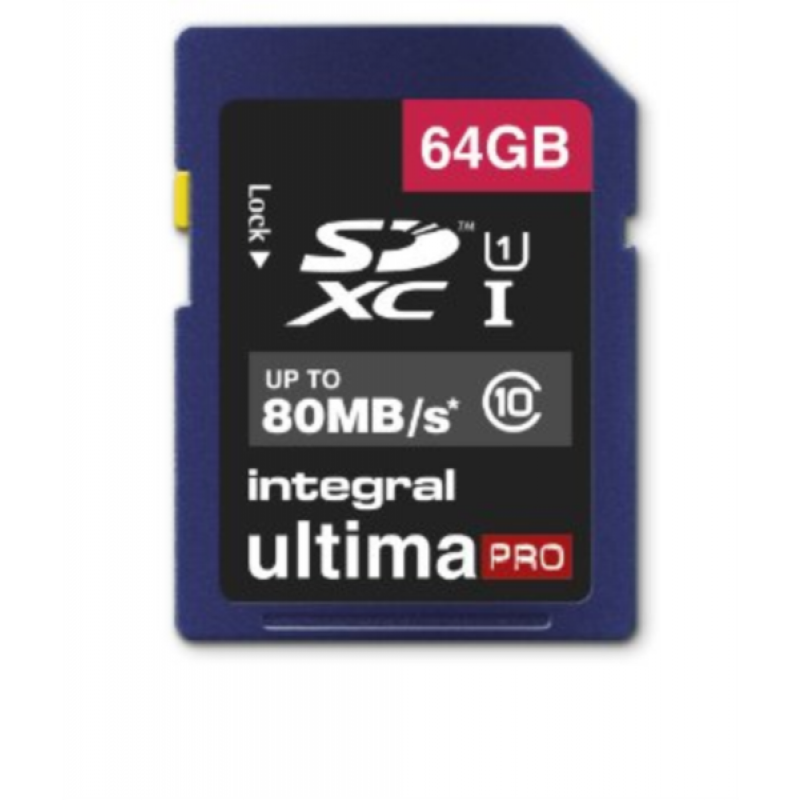 INTEGRAL 64GB SDXC UltimaPro CLASS10 80MB UHS-I U1 spominska kartica