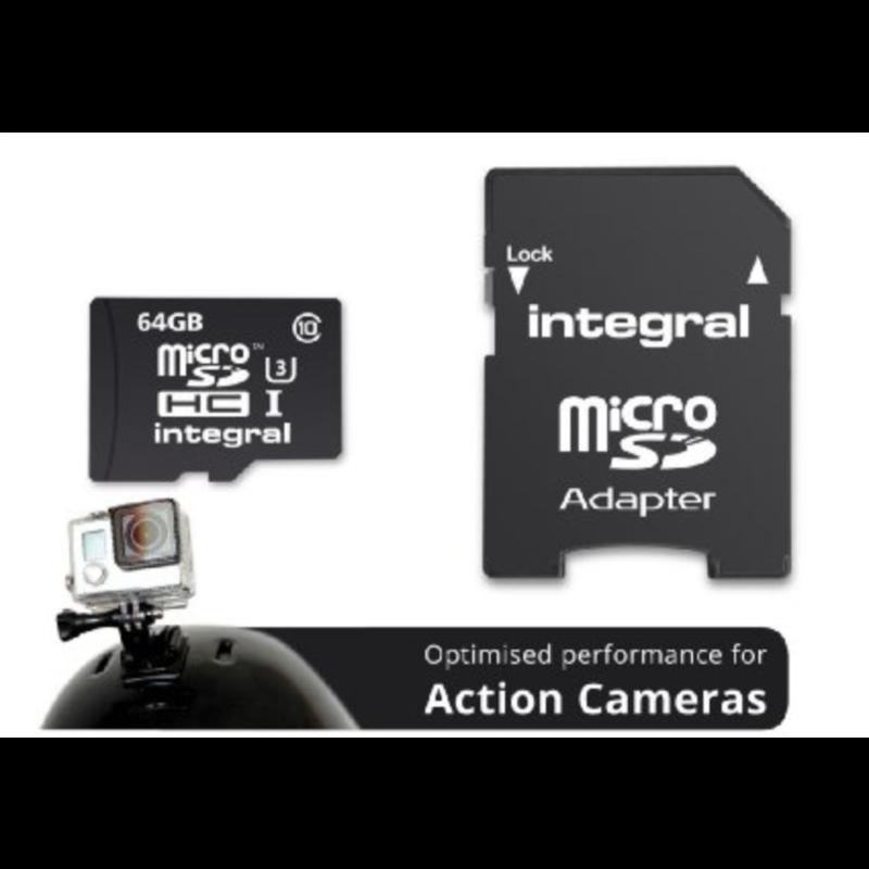 INTEGRAL 64GB ACTION CAMERA MICRO SDXC class10 UHS-I U3 90MB/s SPOMINSKA KARTICA+ SD ADAPTER
