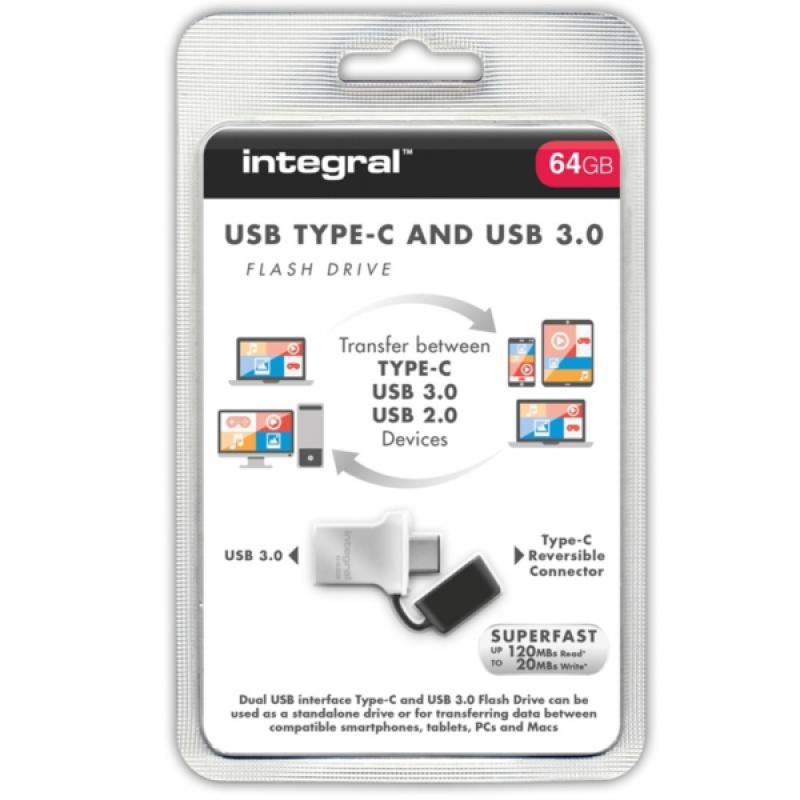 INTEGRAL FUSION 64GB USB-C in USB3.0 spominski ključek