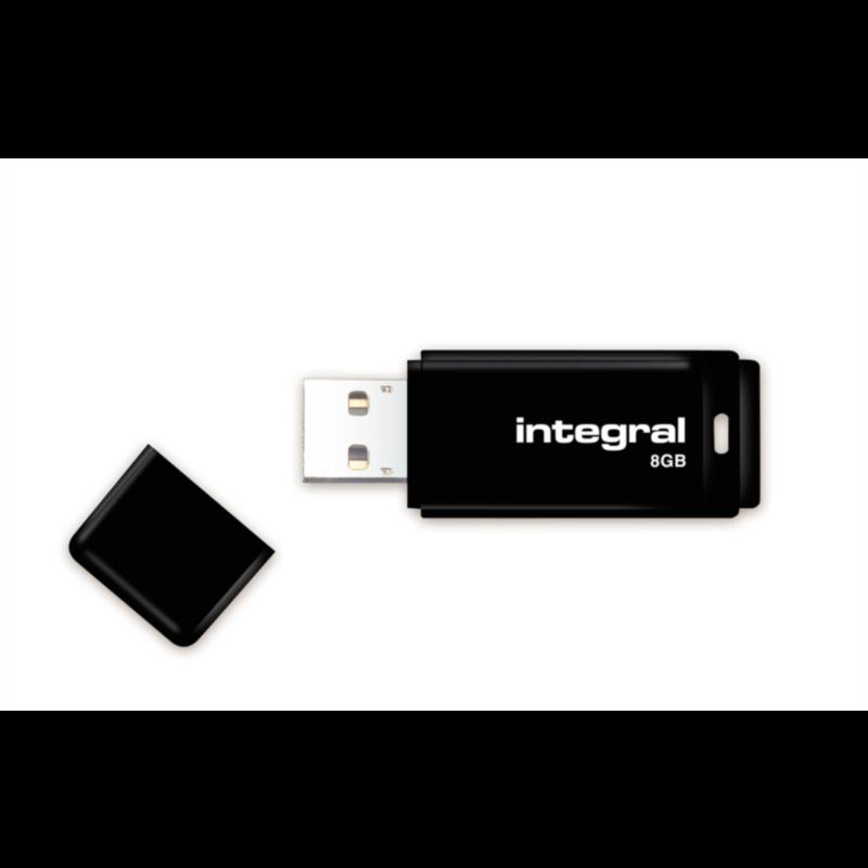 INTEGRAL BLACK 8GB USB2.0 spominski ključek