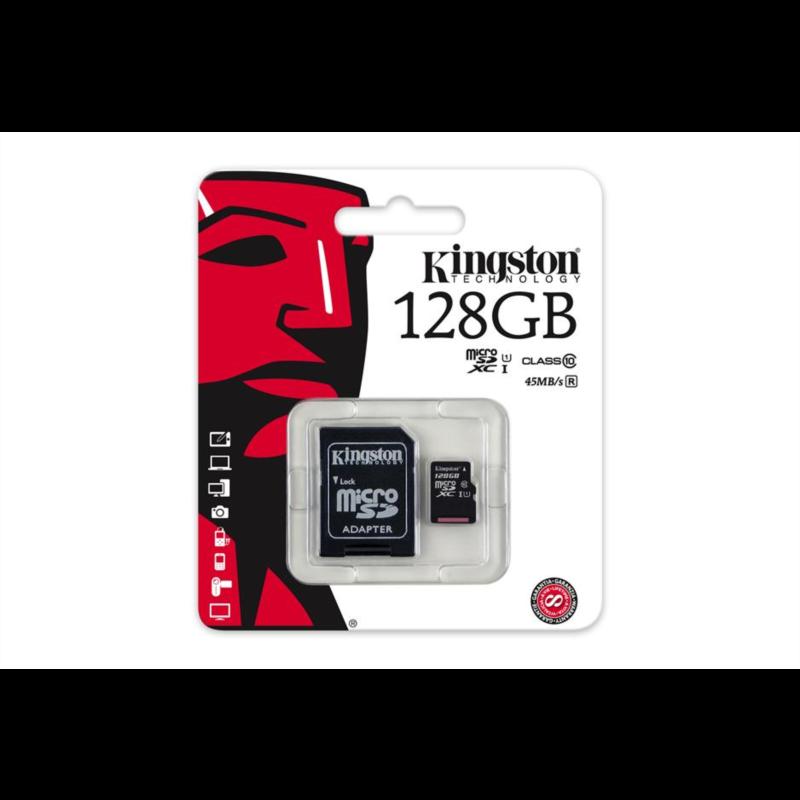 KINGSTON 128GB MICRO SDXC class10 45MB/s SPOMINSKA KARTICA+ SD ADAPTER
