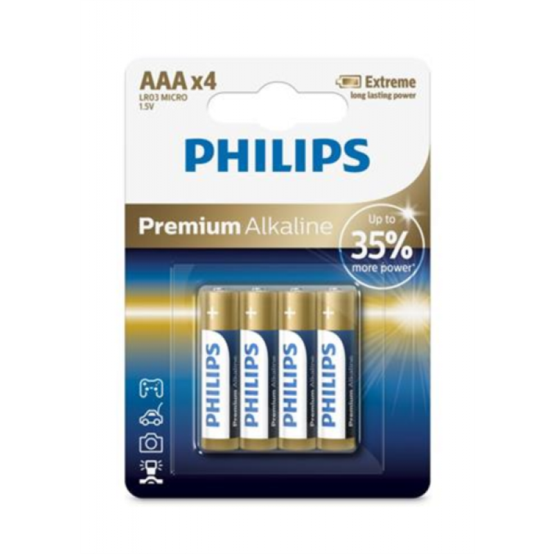 PHILIPS BATERIJA AAA - PREMIUM ALKALINE BLISTER 4 KOS (LR3)