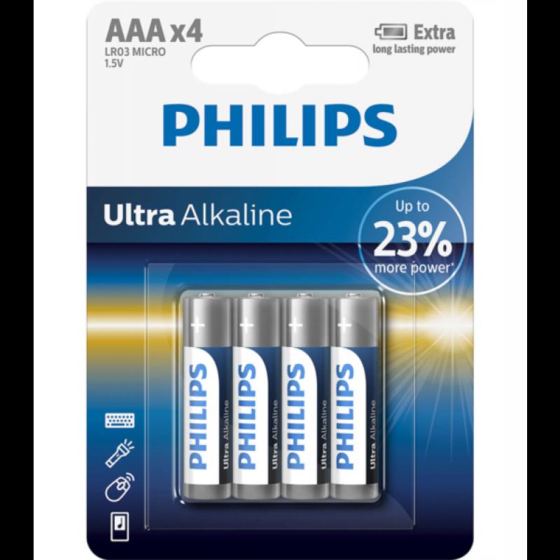 PHILIPS BATERIJA AAA - ULTRA ALKALINE BLISTER 4 KOS (LR3)