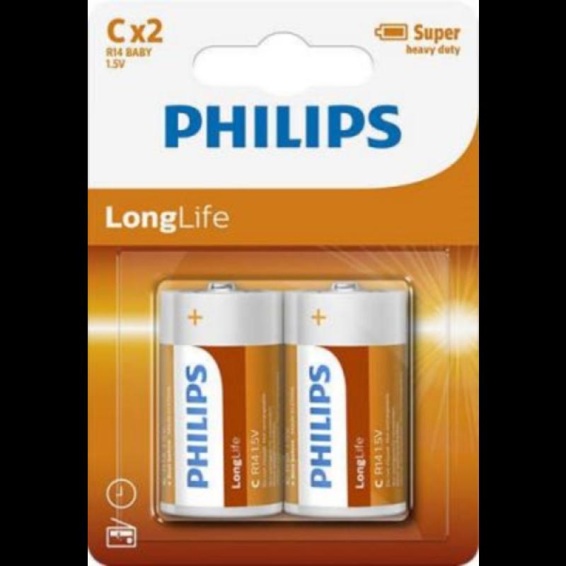 PHILIPS BATERIJA C - LONGLIFE BLISTER 2 KOS (R14)
