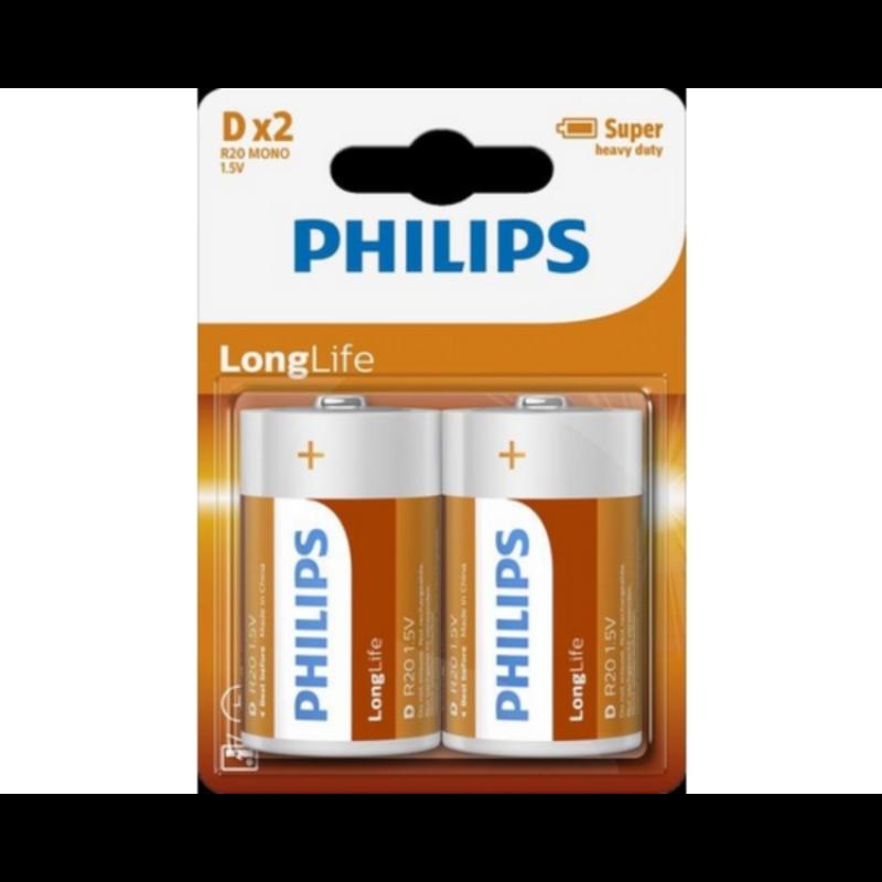 PHILIPS BATERIJA D - LONGLIFE BLISTER 2 KOS (LR20)