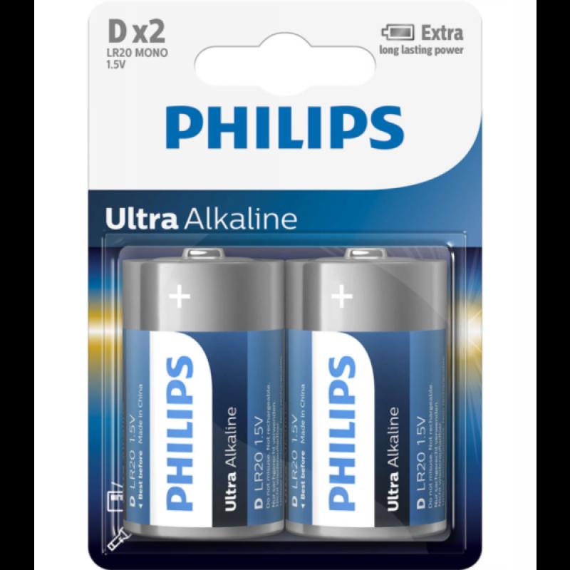 PHILIPS BATERIJA D - ULTRA ALKALINE 2 KOS (R20)