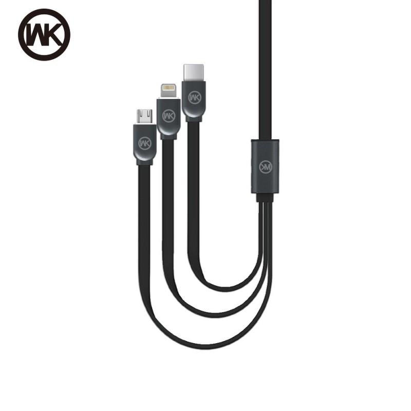 WK Design kabel 3v1 (USB-C, Micro-USB, Lightning)