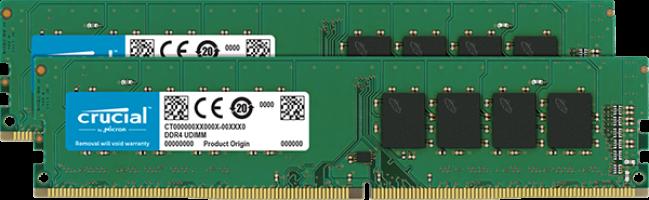 Crucial 32GB Kit ( 2 x 16GB) DDR4-2666 UDIMM PC4-21300 CL19, 1.2V