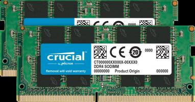 Crucial 16GB Kit (2 x 8GB) DDR4-2666 SODIMM PC4-21300 CL19, 1.2V