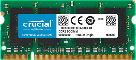 Crucial 2GB DDR2-800 SODIMM PC2-6400 CL6, 1.8V