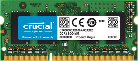 Crucial 4GB DDR3L-1600 SODIMM PC3-12800 CL11, 1.35V Single Ranked