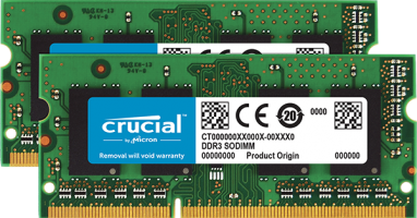 Crucial 16GB Kit (2 x 8GB) DDR3L-1600 SODIMM PC3-12800 CL11, 1.35V/1.5V za Mac