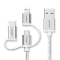 Ugreen USB 2.0 na Micro USB+Lightning+Type C (3 v 1) podatkovni kabel pleten 1,5m