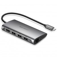 Ugreen USB-C na 3xUSB3.0 + HDMI + RJ45 + SD & TF hub siv