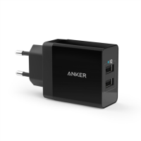Anker 24W 2-port USB stenski polnilec črn