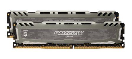 Crucial Ballistix Sport LT Gray 32GB Kit (2 x 16GB) DDR4-3200 UDIMM PC4-25600 CL16, 1.35V