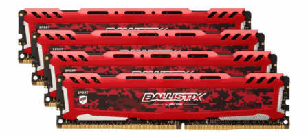 Crucial Ballistix Sport LT Red 32GB Kit (8GBx4) DDR4-2666 UDIMM PC4-21300 CL16, 1.2V