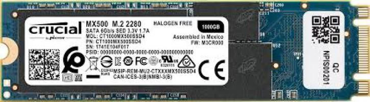 Crucial SSD MX500 1TB M.2 80mm 2280 SS SATA3 3D TLC