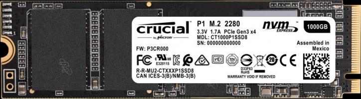 Crucial P1 1TB 3D NAND NVMe PCIe M.2 SSD 2280