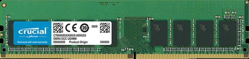 Crucial 16GB DDR4-2666 ECC UDIMM PC4-21300 CL19, 1.2V