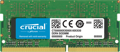 Crucial 8GB DDR4-2666 SODIMM PC4-21300 CL19, 1.2V Single Ranked