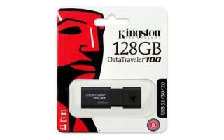 USB DISK KINGSTON 128GB DT100G3, 3.0, črn, drsni priključek