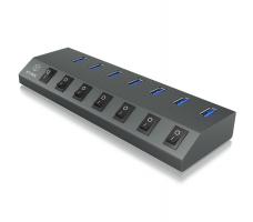 Icybox 7 portni hub in polnilnik IB-HUB1701-U3 z USB-C priklopom
